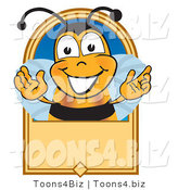 Vector Illustration of a Grinning Bee and Blank Tan LabelGrinning Bee and Blank Tan Label by Toons4Biz