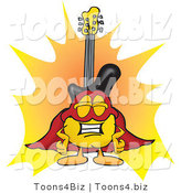 Vector Illustration of a Guitar Mascot Dressed As a Super Hero by Toons4Biz