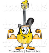Vector Illustration of a Guitar Mascot Flexing His Arm Muscles by Toons4Biz