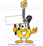 Vector Illustration of a Guitar Mascot Holding a Blank Sign by Toons4Biz