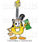 Vector Illustration of a Guitar Mascot Holding a Dollar Bill by Toons4Biz