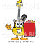 Vector Illustration of a Guitar Mascot Holding a Red Sales Price Tag by Toons4Biz
