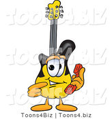 Vector Illustration of a Guitar Mascot Holding a Telephone by Toons4Biz