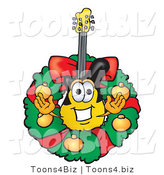 Vector Illustration of a Guitar Mascot in the Center of a Christmas Wreath by Toons4Biz