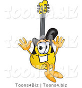 Vector Illustration of a Guitar Mascot Jumping by Toons4Biz