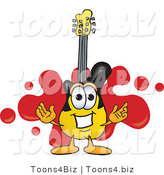 Vector Illustration of a Guitar Mascot Logo with a Red Paint Splatter by Toons4Biz