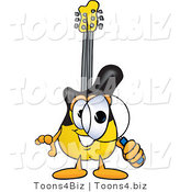 Vector Illustration of a Guitar Mascot Looking Through a Magnifying Glass by Toons4Biz