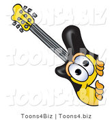 Vector Illustration of a Guitar Mascot Peeking Around a Corner by Toons4Biz