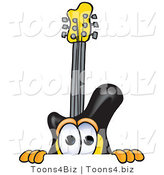 Vector Illustration of a Guitar Mascot Peeking over a Surface by Toons4Biz