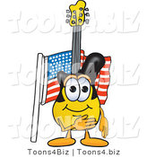 Vector Illustration of a Guitar Mascot Pledging Allegiance to an American Flag by Toons4Biz