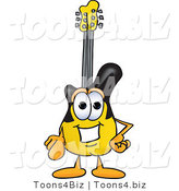 Vector Illustration of a Guitar Mascot Pointing at the Viewer by Toons4Biz