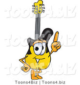 Vector Illustration of a Guitar Mascot Pointing Upwards by Toons4Biz