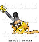Vector Illustration of a Guitar Mascot Resting His Head on His Hand by Toons4Biz