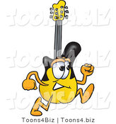 Vector Illustration of a Guitar Mascot Running by Toons4Biz