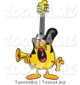 Vector Illustration of a Guitar Mascot Screaming into a Megaphone by Toons4Biz