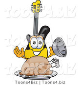 Vector Illustration of a Guitar Mascot Serving a Thanksgiving Turkey on a Platter by Toons4Biz