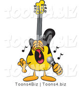 Vector Illustration of a Guitar Mascot Singing Loud into a Microphone by Toons4Biz