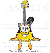 Vector Illustration of a Guitar Mascot Sitting by Toons4Biz