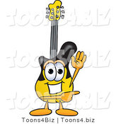 Vector Illustration of a Guitar Mascot Waving and Pointing by Toons4Biz