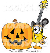 Vector Illustration of a Guitar Mascot with a Carved Halloween Pumpkin by Toons4Biz