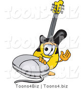 Vector Illustration of a Guitar Mascot with a Computer Mouse by Toons4Biz