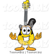 Vector Illustration of a Guitar Mascot with Welcoming Open Arms by Toons4Biz