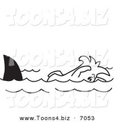 Vector Illustration of a Guy Swimming with Sharks by Toons4Biz