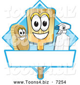 Vector Illustration of a Happy Broom Scrub Brush and Spray Bottle Mascot Characters on a Blue Cleaning Sign or Logo by Toons4Biz