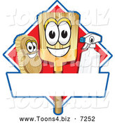 Vector Illustration of a Happy Broom Scrub Brush and Spray Bottle Mascot Characters on a Red Cleaning Sign or Logo by Toons4Biz
