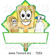 Vector Illustration of a Happy Broom Scrub Brush and Spray Bottle Mascot Characters on a Yellow Cleaning Sign or Logo by Toons4Biz