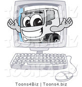 Vector Illustration of a Happy Cartoon Delivery Truck Mascot on a Computer Screen by Toons4Biz