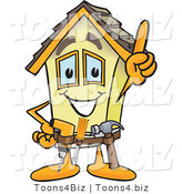 Vector Illustration of a Happy Cartoon Home Mascot Handyman Wearing Tool Belt by Toons4Biz