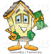 Vector Illustration of a Happy Cartoon Home Mascot Holding Cash Money by Toons4Biz