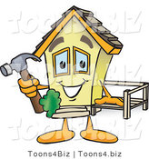 Vector Illustration of a Happy Cartoon Home Mascot Holding Hammer While Building a Deck by Toons4Biz
