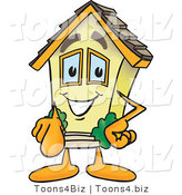 Vector Illustration of a Happy Cartoon Home Mascot Pointing Outward by Toons4Biz