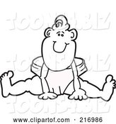 Vector Illustration of a Happy Cartoon Outlined Baby Boy Mascot Sitting in a Large Diaper by Toons4Biz