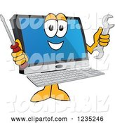 Vector Illustration of a Happy Cartoon PC Computer Mascot Holding Tools by Toons4Biz
