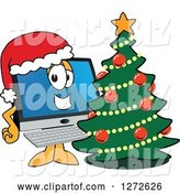 Vector Illustration of a Happy Cartoon PC Computer Mascot Wearing a Santa Hat by a Christmas Tree by Toons4Biz