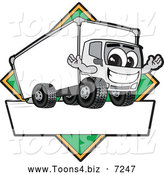 July 21st, 2013: Vector Illustration of a Happy Delivery Big Rig Truck Mascot Character Sign or Logo with a Green Diamond by Toons4Biz