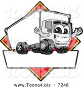 Vector Illustration of a Happy Delivery Big Rig Truck Mascot Character Sign or Logo with a Red Diamond by Toons4Biz