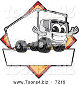July 21st, 2013: Vector Illustration of a Happy Delivery Big Rig Truck Mascot Character Sign or Logo with a Yellow Diamond by Toons4Biz