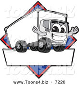 Vector Illustration of a Happy Delivery Truck Mascot Character Sign or Logo with a Blue Diamond by Toons4Biz