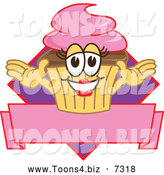 December 10th, 2013: Vector Illustration of a Happy Female Cupcake over a Banner by Toons4Biz