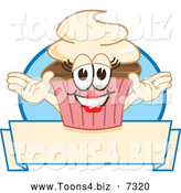 November 19th, 2013: Vector Illustration of a Happy Female Cupcake over a Banner by Toons4Biz