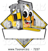 Vector Illustration of a Happy Forklift Mascot Character Sign or Logo by Toons4Biz