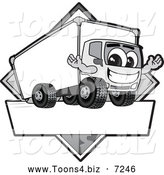 July 21st, 2013: Vector Illustration of a Happy Grayscale Delivery Big Rig Truck Mascot Character Sign or Logo by Toons4Biz
