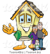Vector Illustration of a Happy Home Mascot Beside New Family by Toons4Biz