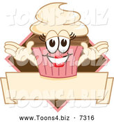 December 15th, 2013: Vector Illustration of a Happy Lady Cupcake over a Banner by Toons4Biz