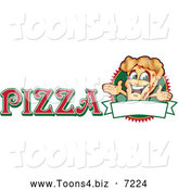 Vector Illustration of a Happy Pizza Mascot Character Sign or Logo 3 by Toons4Biz