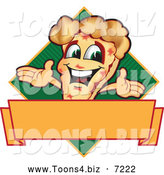 Vector Illustration of a Happy Pizza Mascot Character Sign or Logo 8 by Toons4Biz